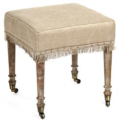 Alfreda French Country Square Burlap Limed Oak Stool Ottoman | Kathy Kuo Home