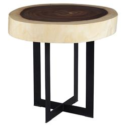 Ali Industrial Loft Black Cross Leg Freeform Wood Trunk Side End Table | Kathy Kuo Home