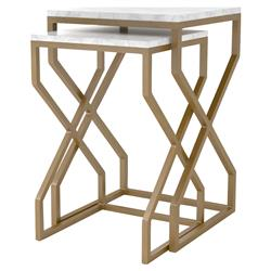 Alistair Hollywood Regency Nesting White Marble Square Side Tables - Set of 2 | Kathy Kuo Home