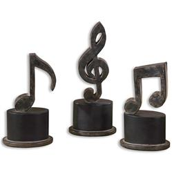 Allegro Industrial Loft Black Music Note Sculptures - Set of 3 | Kathy Kuo Home