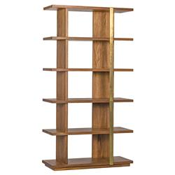 Alonso Modern Antique Brass Walnut Wood Etagere | Kathy Kuo Home