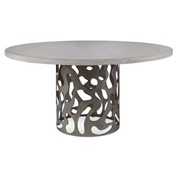 Alta Industrial Stone Modern Pedestal Outdoor Dining Table - 48D | Kathy Kuo Home