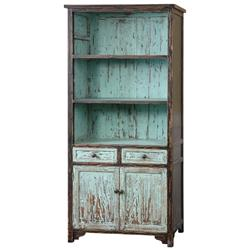 Alto Global Bazaar Distressed Teal Reclaimed Fir Wood Cabinet | Kathy Kuo Home