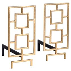 Alton Modern Classic Gold Leaf Iron Fire Place Andirons | Kathy Kuo Home