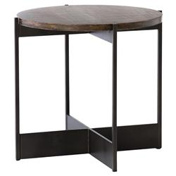 Amanda Industrial Loft Round Brown Oak Smoke Grey Iron Side End Table | Kathy Kuo Home