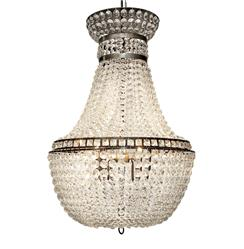 Amari Hollywood Regency Metal Glass Bead Chandelier