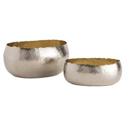 Ambrosio Nickel Hammered Brass Oval Bowls - Set of 2 | Kathy Kuo Home
