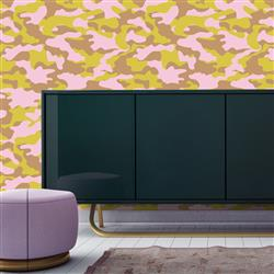 Ammo Modern Classic Green Pink Removable Wallpaper | Kathy Kuo Home