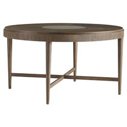 Anakin Lodge Industrial Round Teak Dining Table - 54D | Kathy Kuo Home