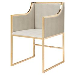 Anastasia Hollywood Regency Gold Beige Faux Shagreen Dining Occasional Arm Chair | Kathy Kuo Home
