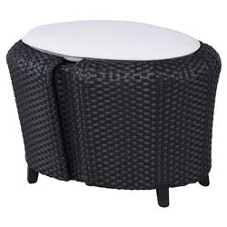 Andy Ivory Woven Black Oval Outdoor Ottoman | Kathy Kuo Home