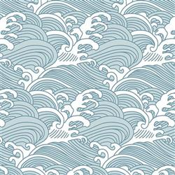 Anewall Bombora Modern Classic Vintage Hawaiian Waves Traditional Wallpaper | Kathy Kuo Home