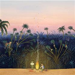 Anewall Little Explorers Modern Classic Jungle Bonfire Wallpaper | Kathy Kuo Home