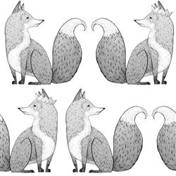 Anewall Mr Fox Modern Classic Fox Illustration Single Panel Wallpaper | Kathy Kuo Home