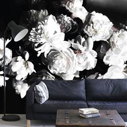 Anewall Printemps Modern Classic Floral Dark Wallpaper | Kathy Kuo Home