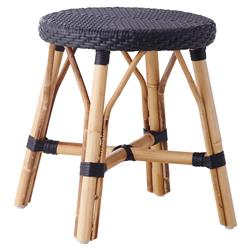 Angel French Country Rattan Black Outdoor Dining Stool  | Kathy Kuo Home