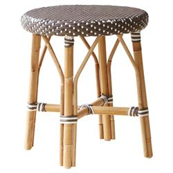 Angel French Country Rattan Brown Outdoor Dining Stool  | Kathy Kuo Home