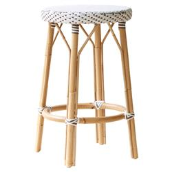 Angel French Country Rattan White Outdoor Counter Stool  | Kathy Kuo Home