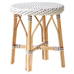 Angel French Country Rattan White Outdoor Dining Stool  | Kathy Kuo Home