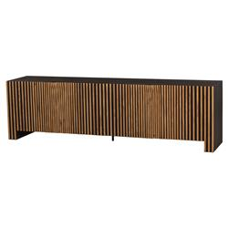 Angela Industrial Loft French Oak Solid 4 Door Media Console | Kathy Kuo Home