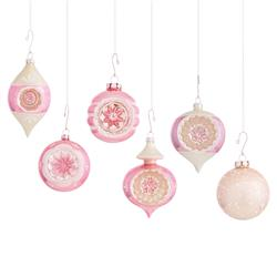 Angela Mid-Century Vibrant Pink & White Vintage Glass Ornaments - Set of 12 | Kathy Kuo Home
