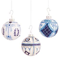Angelica French Country White & Blue Glittered Glass Ball Ornaments - Set of 6 | Kathy Kuo Home