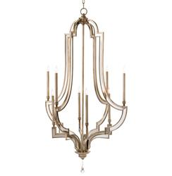 Angelica Hollywood Regency Antique Silver Mirror 8 Light Chandelier | Kathy Kuo Home