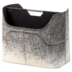 Interlude Anja Rustic Lodge Grey Hide Magazine Rack | Kathy Kuo Home