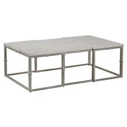 Annabel Rustic Grey Wood Brushed Metal Coffee Table | Kathy Kuo Home