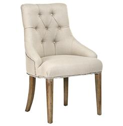 Anneau Natural Linen Tufted Nail head Vanity Dining Chair | Kathy Kuo Home