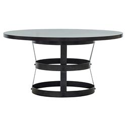 Anthony Loft Steel Basket Espresso Dining Table - 54D | Kathy Kuo Home