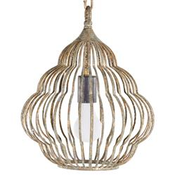 Antique Gold Beehive Iron Frame 1 Light Birdcage Pendant - Small | Kathy Kuo Home