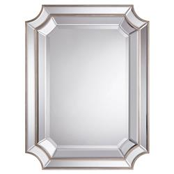 Antoinette Regency Double Tiered Beveled Edge Silver Wall Mirror | Kathy Kuo Home