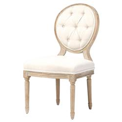 April French Country White Linen Wood Dining Chair | Kathy Kuo Home