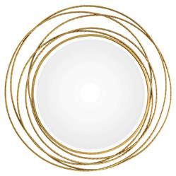 Arabella Hollywood Regency Gold Leaf Iron Coil Round Beveled Wall Mirror | Kathy Kuo Home
