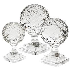 Arabesque Modern Classic Hand Blown Glass Sculpture - Set of 3 | Kathy Kuo Home