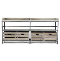 Ardsley Industrial Loft Grey Metal Bakers Rack Sideboard | Kathy Kuo Home