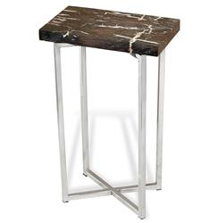 Argo Modern Rustic Petrified Wood Rectangular Side Table | Kathy Kuo Home