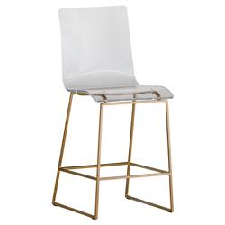 Ari Modern Antique Gold Acrylic Counter Stool | Kathy Kuo Home