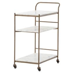 Arianna Modern Brass 3-Tier Marble Large Bar Cart | Kathy Kuo Home