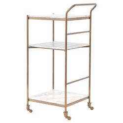 Arianna Modern Classic Brass Frame 3-Tier Marble Bar Cart | Kathy Kuo Home