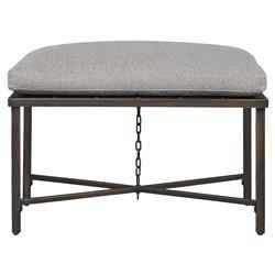 Aris Industrial Loft  Grey Cushion Metal Bench | Kathy Kuo Home
