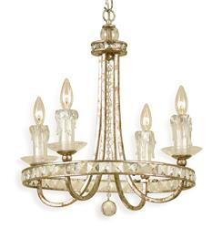 Aristocrat Gold Crystal Hollywood Regency 4 Light Chandelier | Kathy Kuo Home