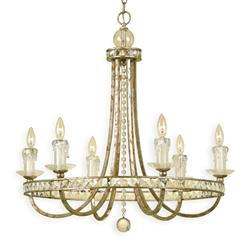 Aristocrat Soft Gold Crystal Hollywood Regency 6 Light Chandelier