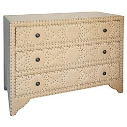 Arlane French Country Wood Burlap Rivet Dresser | Kathy Kuo Home