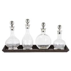 Armagnac Classic Glass Nickel Decanter - Set of 4 | Kathy Kuo Home