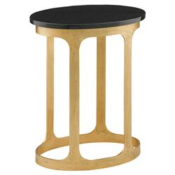 Aron Hollywood Regency Gold Open Frame Black Granite Top Oval Side Table   | Kathy Kuo Home