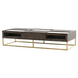 Arry Modern Multi-purpose 3 Drawer Ash Grey Rectangular Gold Legs Coffee Table | Kathy Kuo Home