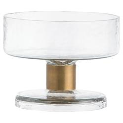 Arteriors Didi Hammered Glass Brass Stem Serving Bowl - Medium | Kathy Kuo Home