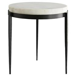 Arteriors Kelsie Modern Classic Round White Marble Black Iron Side End Table | Kathy Kuo Home